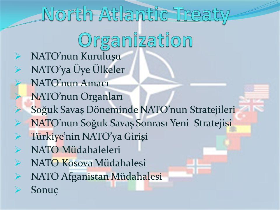  NATO'nun Kuruluşu  NATO'ya Üye Ülkeler  NATO'nun Amacı  NATO'nun Organları  Soğuk Savaş Döneminde NATO'nun Stratejileri  NATO'nun Soğuk Savaş Sonrası Yeni Stratejisi  Türkiye'nin NATO'ya Girişi  NATO Müdahaleleri  NATO Kosova Müdahalesi  NATO Afganistan Müdahalesi  Sonuç