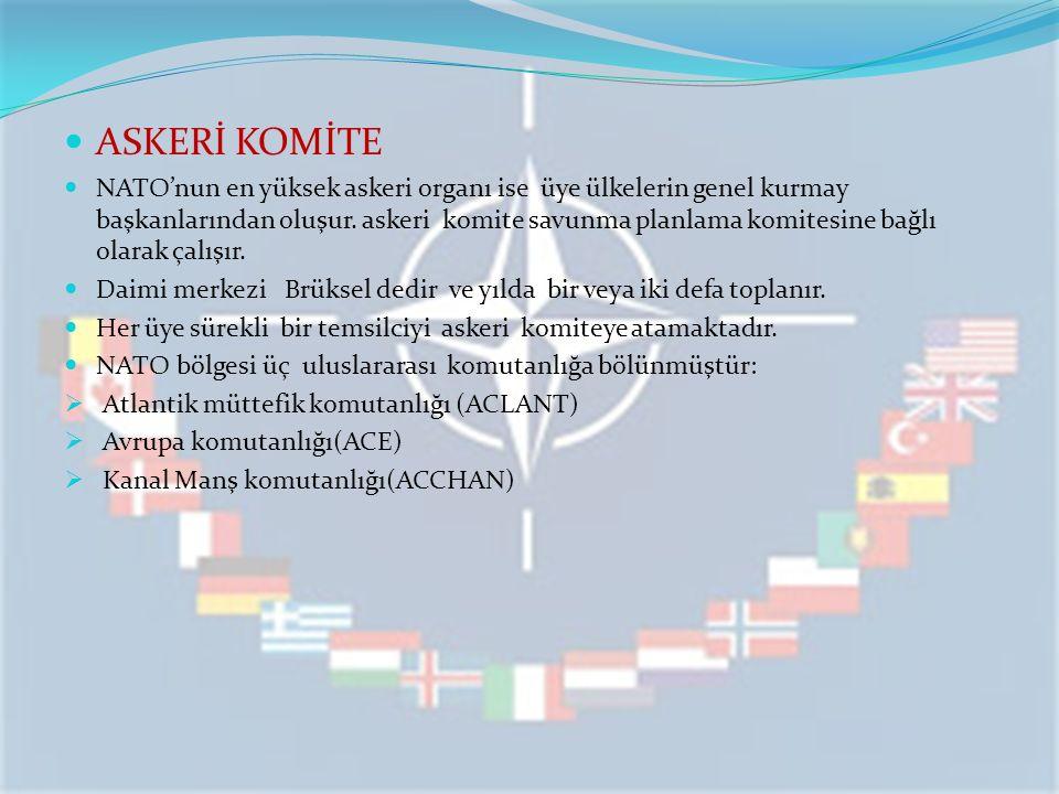 ASKERİ KOMİTE NATO'nun en yüksek askeri organı ise üye ülkelerin genel kurmay başkanlarından oluşur. askeri komite savunma planlama komitesine bağlı o
