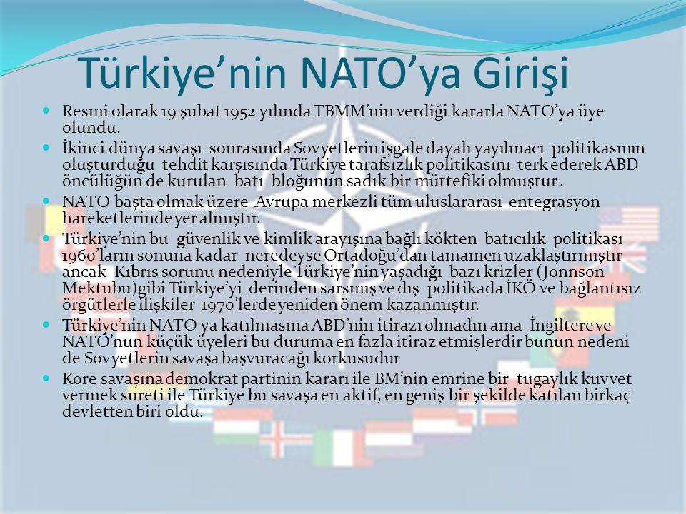 Türkiye'nin NATO'ya Girişi Resmi olarak 19 şubat 1952 yılında TBMM'nin verdiği kararla NATO'ya üye olundu. İkinci dünya savaşı sonrasında Sovyetlerin