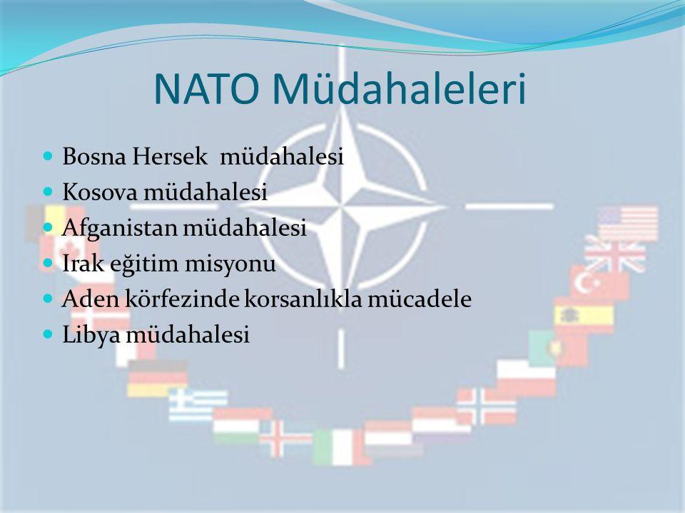 NATO Müdahaleleri Bosna Hersek müdahalesi Kosova müdahalesi Afganistan müdahalesi Irak eğitim misyonu Aden körfezinde korsanlıkla mücadele Libya müdah