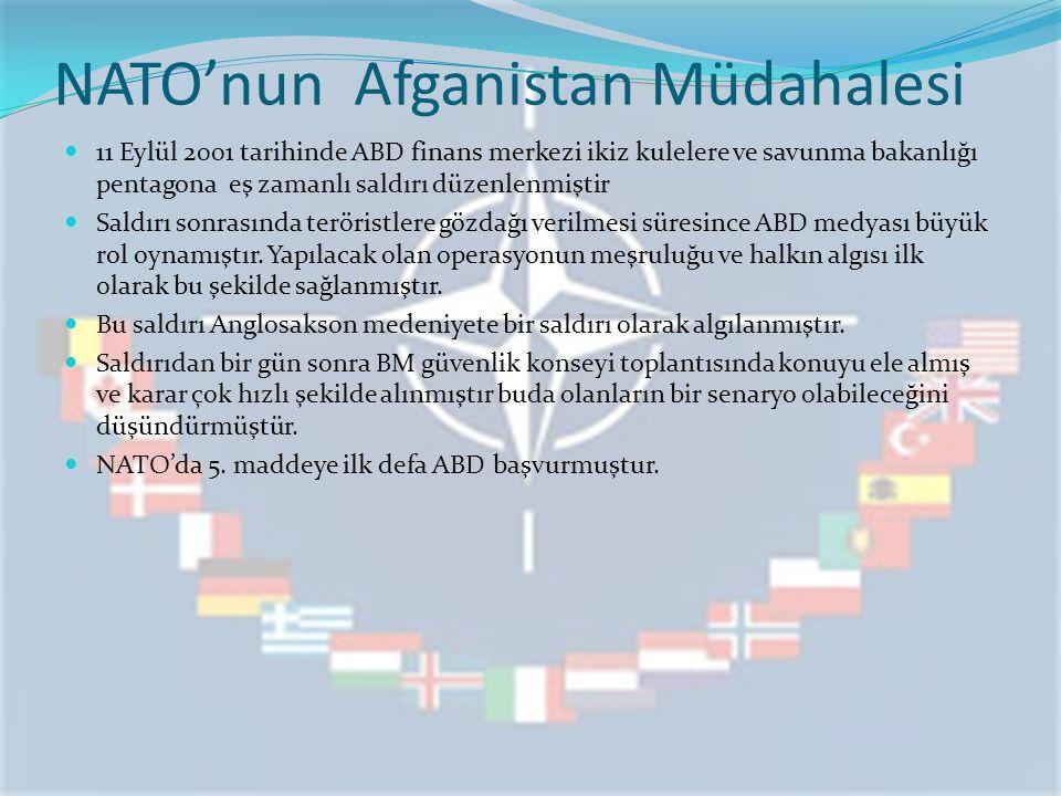 NATO'nun Afganistan Müdahalesi 11 Eylül 2001 tarihinde ABD finans merkezi ikiz kulelere ve savunma bakanlığı pentagona eş zamanlı saldırı düzenlenmiştir Saldırı sonrasında teröristlere gözdağı verilmesi süresince ABD medyası büyük rol oynamıştır.