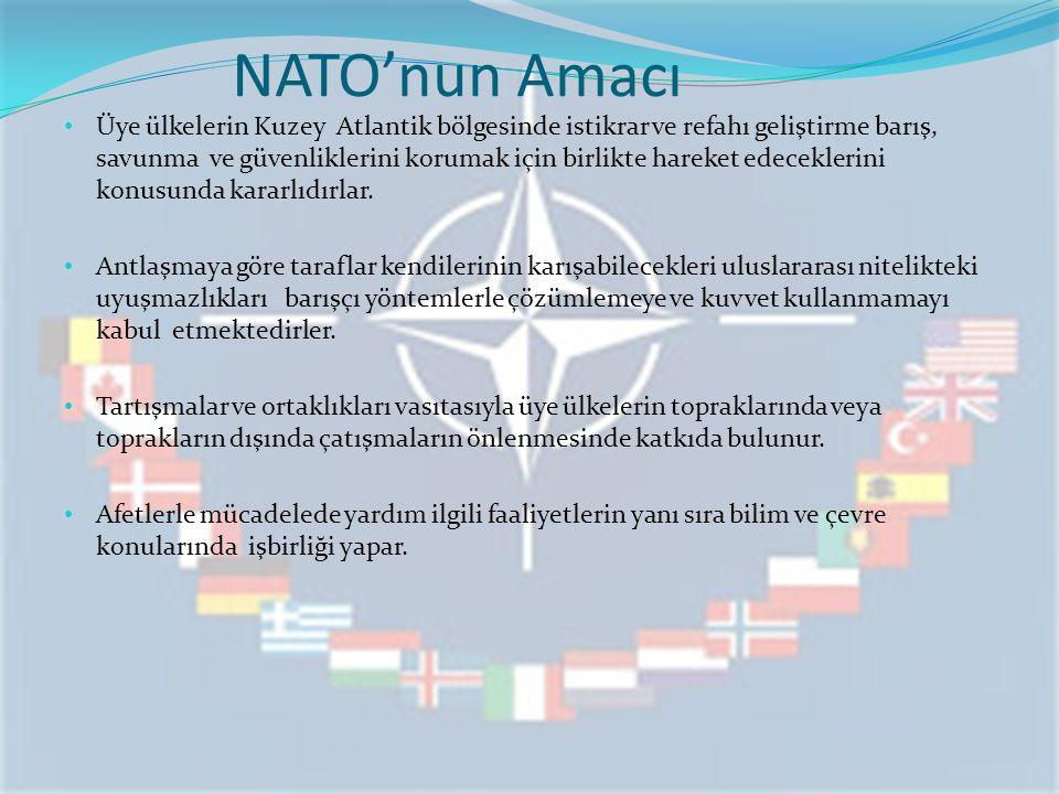 NATO'nun Amacı Üye ülkelerin Kuzey Atlantik bölgesinde istikrar ve refahı geliştirme barış, savunma ve güvenliklerini korumak için birlikte hareket ed