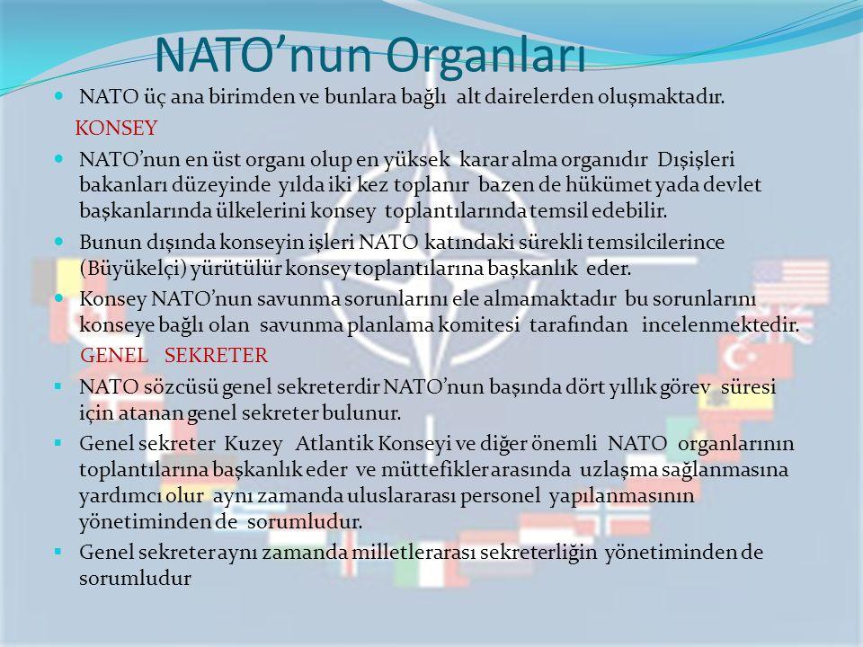 NATO'nun Organları NATO üç ana birimden ve bunlara bağlı alt dairelerden oluşmaktadır. KONSEY NATO'nun en üst organı olup en yüksek karar alma organıd