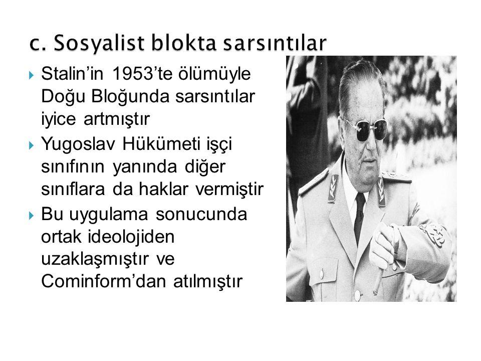  Stalin'in 1953'te ölümüyle Doğu Bloğunda sarsıntılar iyice artmıştır  Yugoslav Hükümeti işçi sınıfının yanında diğer sınıflara da haklar vermiştir