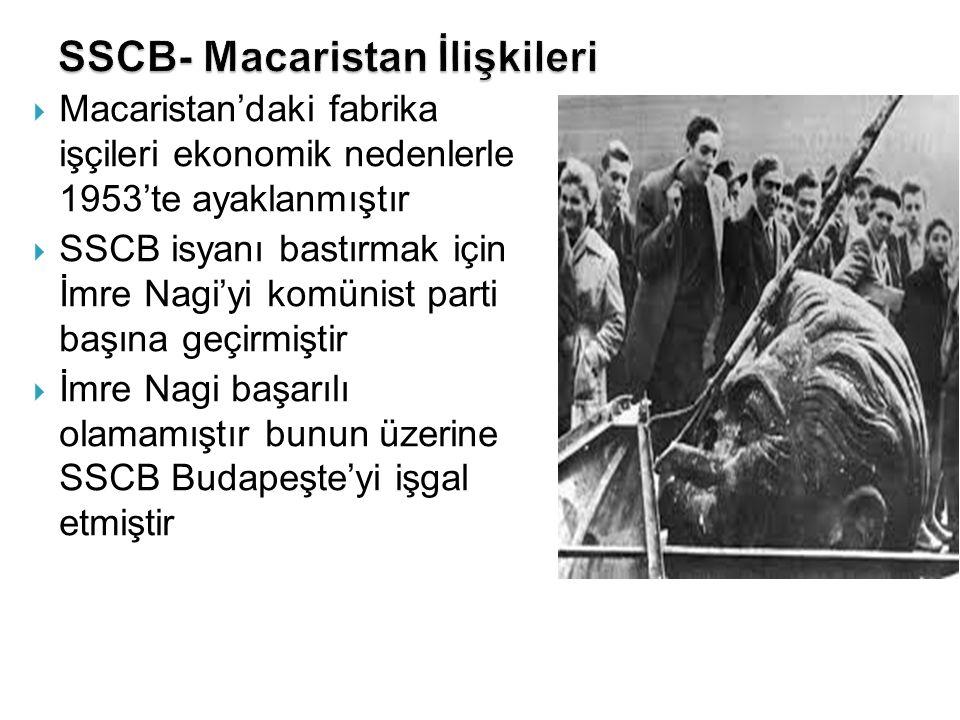  Macaristan'daki fabrika işçileri ekonomik nedenlerle 1953'te ayaklanmıştır  SSCB isyanı bastırmak için İmre Nagi'yi komünist parti başına geçirmişt