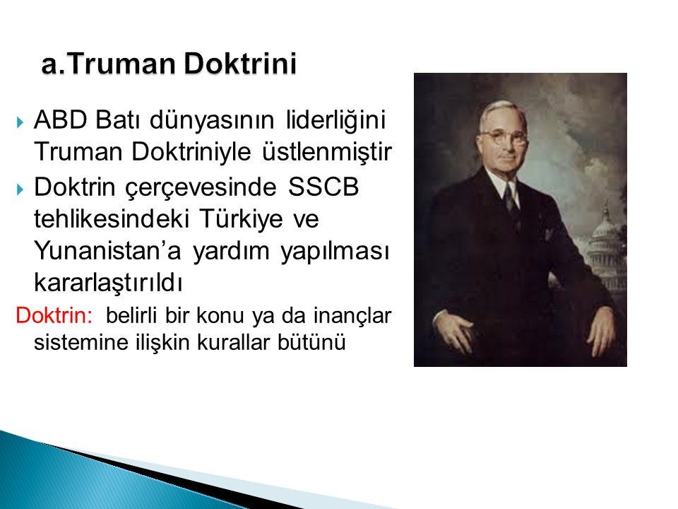  ABD Batı dünyasının liderliğini Truman Doktriniyle üstlenmiştir  Doktrin çerçevesinde SSCB tehlikesindeki Türkiye ve Yunanistan'a yardım yapılması