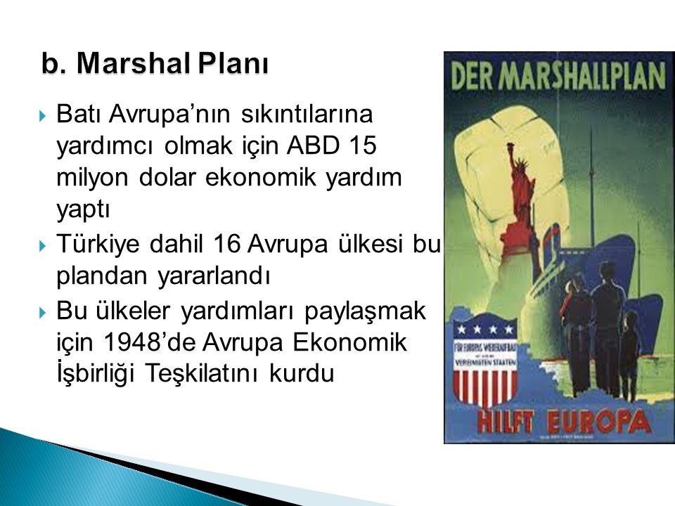  Batı Avrupa'nın sıkıntılarına yardımcı olmak için ABD 15 milyon dolar ekonomik yardım yaptı  Türkiye dahil 16 Avrupa ülkesi bu plandan yararlandı 