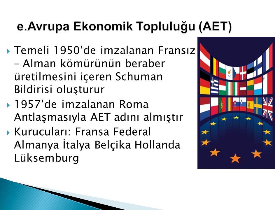  Temeli 1950'de imzalanan Fransız – Alman kömürünün beraber üretilmesini içeren Schuman Bildirisi oluşturur  1957'de imzalanan Roma Antlaşmasıyla AE
