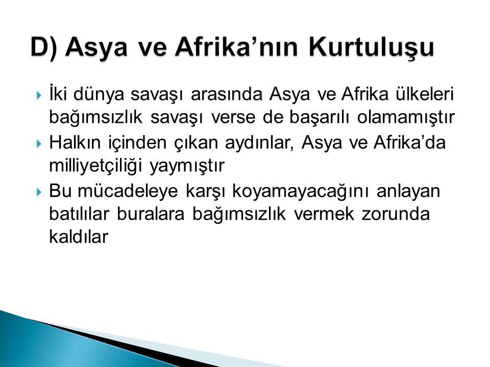  İki dünya savaşı arasında Asya ve Afrika ülkeleri bağımsızlık savaşı verse de başarılı olamamıştır  Halkın içinden çıkan aydınlar, Asya ve Afrika'd