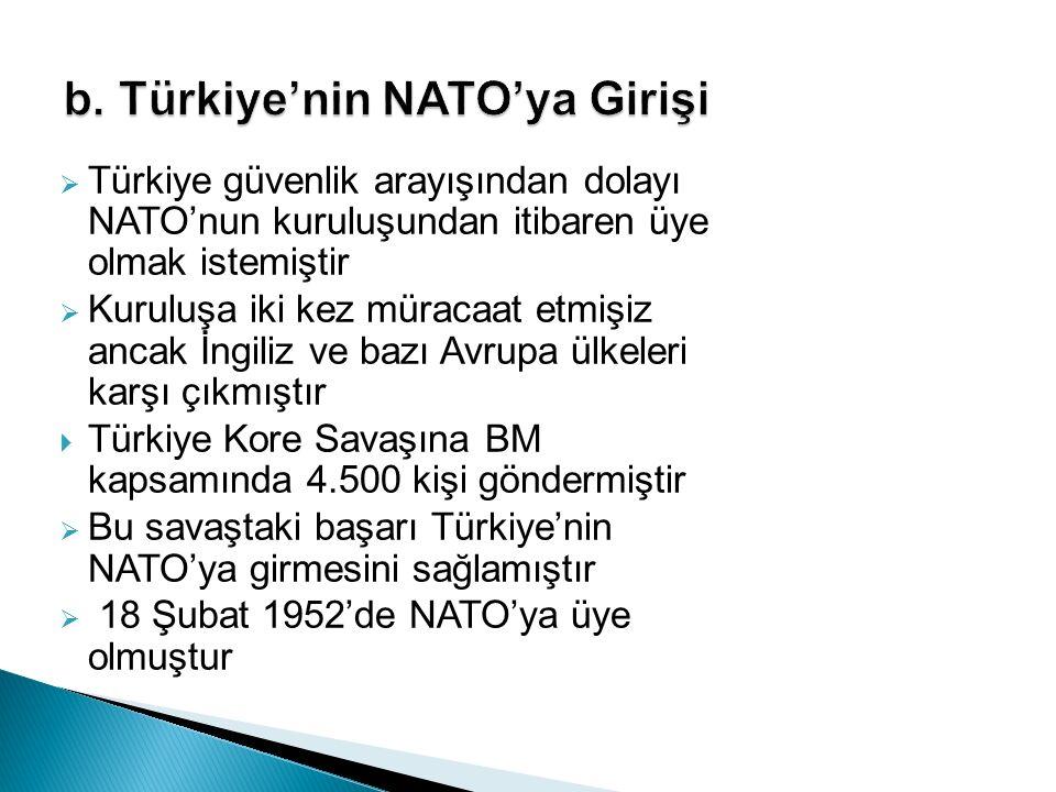  Türkiye güvenlik arayışından dolayı NATO'nun kuruluşundan itibaren üye olmak istemiştir  Kuruluşa iki kez müracaat etmişiz ancak İngiliz ve bazı Av