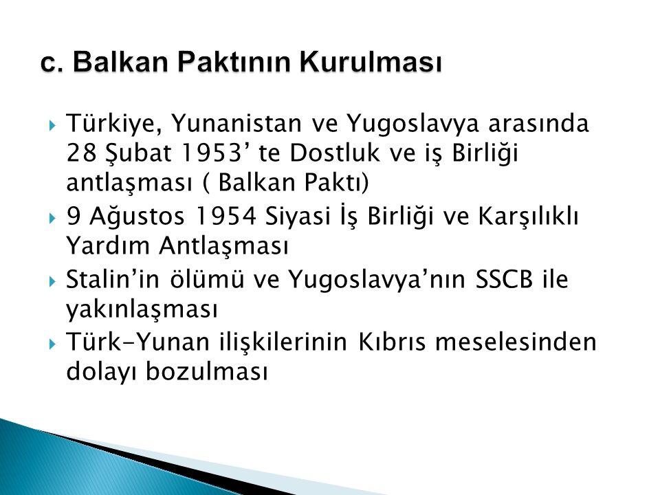  Türkiye, Yunanistan ve Yugoslavya arasında 28 Şubat 1953' te Dostluk ve iş Birliği antlaşması ( Balkan Paktı)  9 Ağustos 1954 Siyasi İş Birliği ve