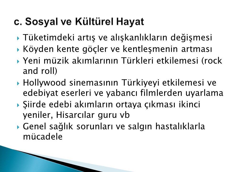  Tüketimdeki artış ve alışkanlıkların değişmesi  Köyden kente göçler ve kentleşmenin artması  Yeni müzik akımlarının Türkleri etkilemesi (rock and