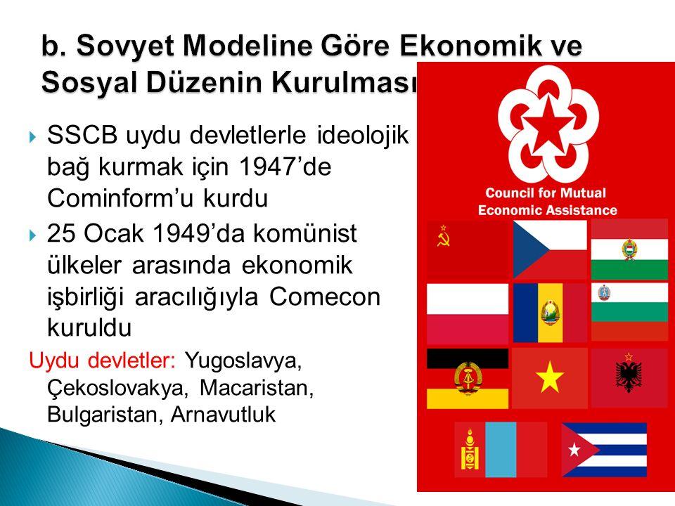  SSCB uydu devletlerle ideolojik bağ kurmak için 1947'de Cominform'u kurdu  25 Ocak 1949'da komünist ülkeler arasında ekonomik işbirliği aracılığıyl