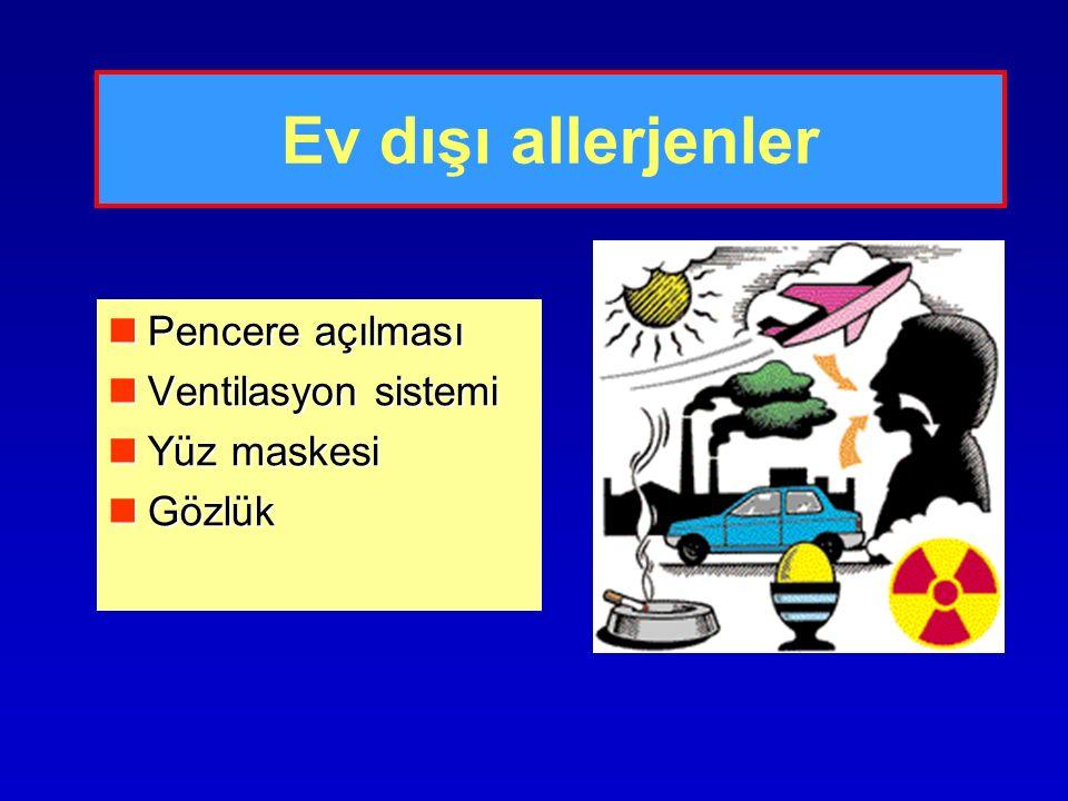 Ev dışı allerjenler Pencere açılması Pencere açılması Ventilasyon sistemi Ventilasyon sistemi Yüz maskesi Yüz maskesi Gözlük Gözlük