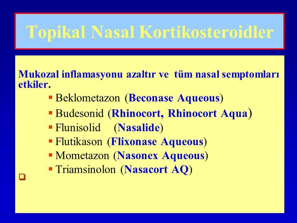 Topikal Nasal Kortikosteroidler Mukozal inflamasyonu azaltır ve tüm nasal semptomları etkiler.   Beklometazon (Beconase Aqueous)   Budesonid (Rhin