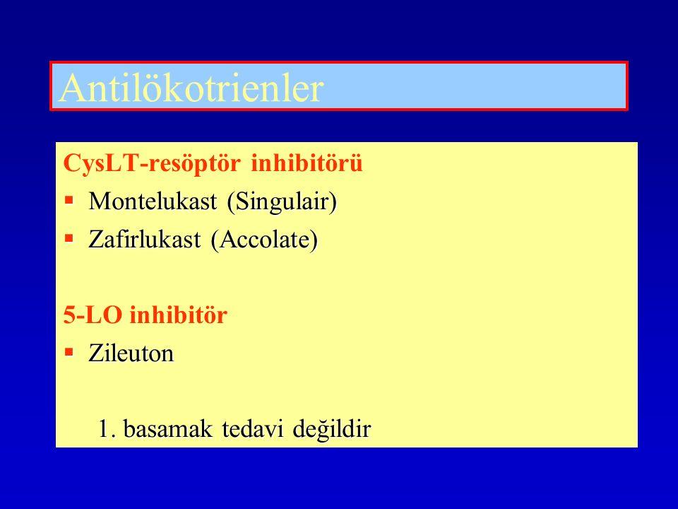 Antilökotrienler CysLT-resöptör inhibitörü  Montelukast (Singulair)  Zafirlukast (Accolate) 5-LO inhibitör  Zileuton 1. basamak tedavi değildir