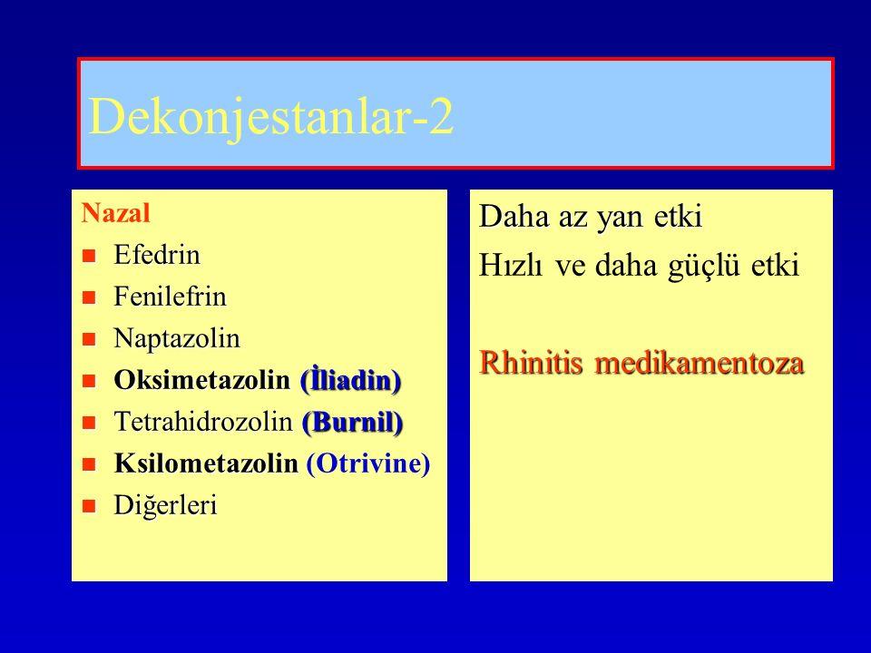 Dekonjestanlar-2 Nazal Efedrin Efedrin Fenilefrin Fenilefrin Naptazolin Naptazolin Oksimetazolin (İliadin) Oksimetazolin (İliadin) Tetrahidrozolin (Burnil) Tetrahidrozolin (Burnil) Ksilometazolin Ksilometazolin (Otrivine) Diğerleri Diğerleri Daha az yan etki Hızlı ve daha güçlü etki Rhinitis medikamentoza