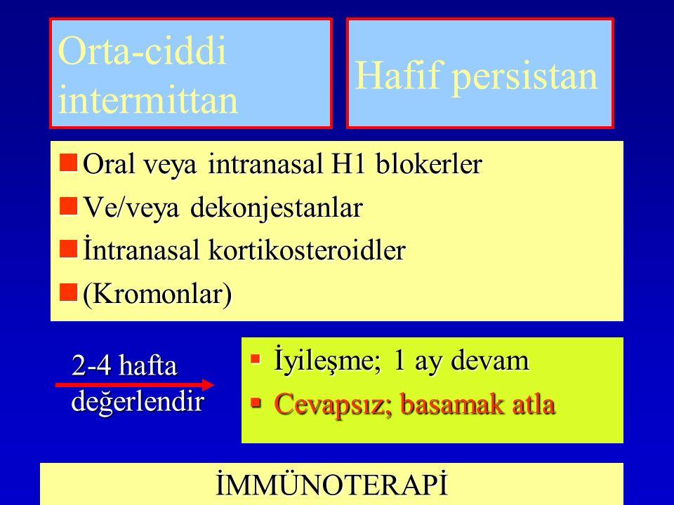 Orta-ciddi intermittan Oral veya intranasal H1 blokerler Oral veya intranasal H1 blokerler Ve/veya dekonjestanlar Ve/veya dekonjestanlar İntranasal kortikosteroidler İntranasal kortikosteroidler (Kromonlar) (Kromonlar) Hafif persistan 2-4 hafta değerlendir  İyileşme; 1 ay devam  Cevapsız; basamak atla İMMÜNOTERAPİ