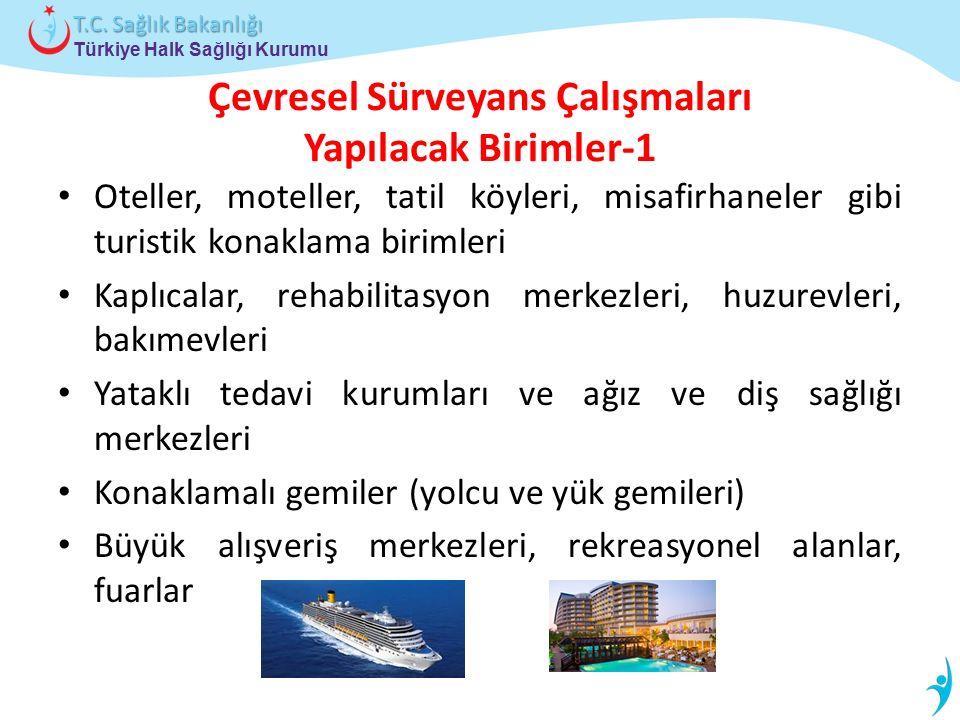 Türkiye Halk Sağlığı Kurumu T.C. Sağlık Bakanlığı Çevresel Sürveyans Çalışmaları Yapılacak Birimler-1 Oteller, moteller, tatil köyleri, misafirhaneler