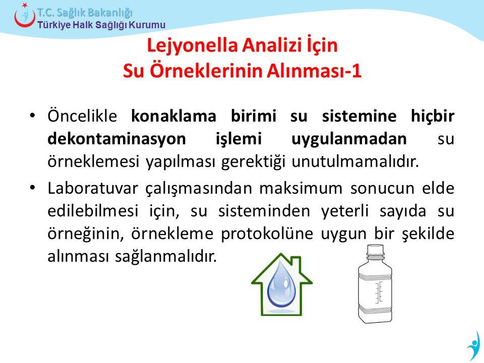 Türkiye Halk Sağlığı Kurumu T.C. Sağlık Bakanlığı Lejyonella Analizi İçin Su Örneklerinin Alınması-1 Öncelikle konaklama birimi su sistemine hiçbir de