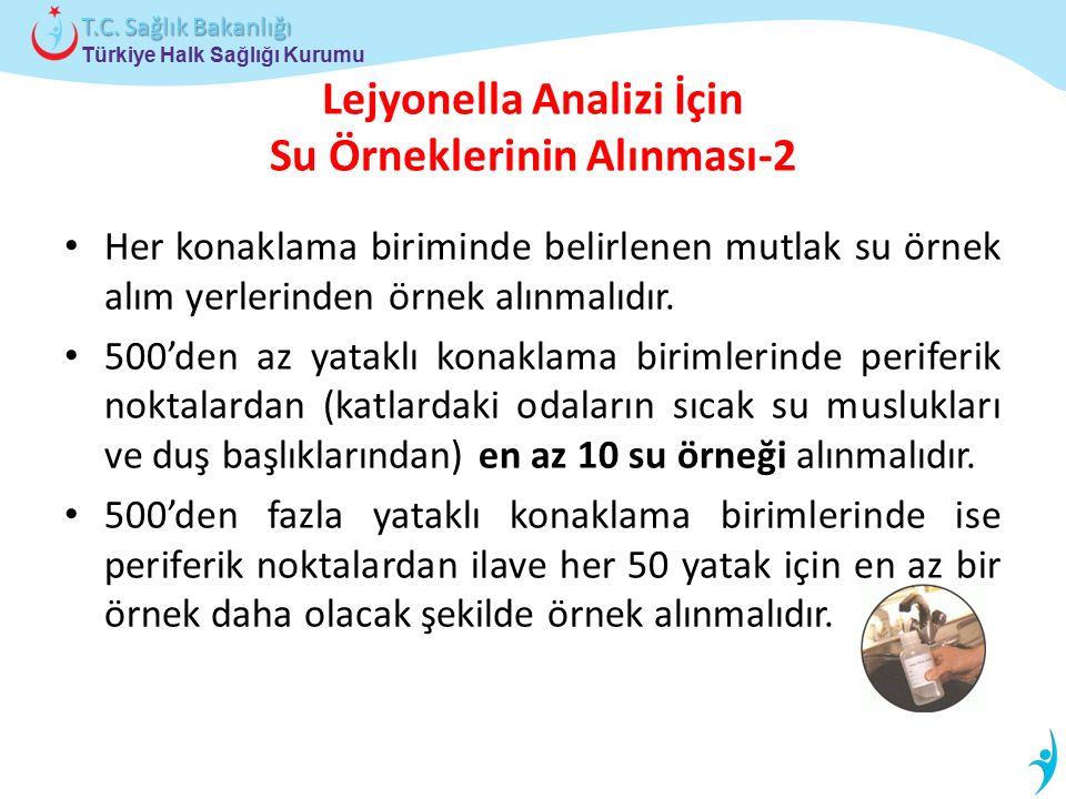 Türkiye Halk Sağlığı Kurumu T.C. Sağlık Bakanlığı Lejyonella Analizi İçin Su Örneklerinin Alınması-2 Her konaklama biriminde belirlenen mutlak su örne