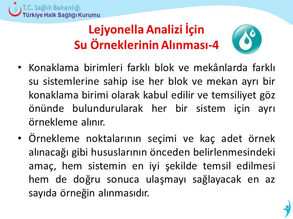 Türkiye Halk Sağlığı Kurumu T.C. Sağlık Bakanlığı Lejyonella Analizi İçin Su Örneklerinin Alınması-4 Konaklama birimleri farklı blok ve mekânlarda far
