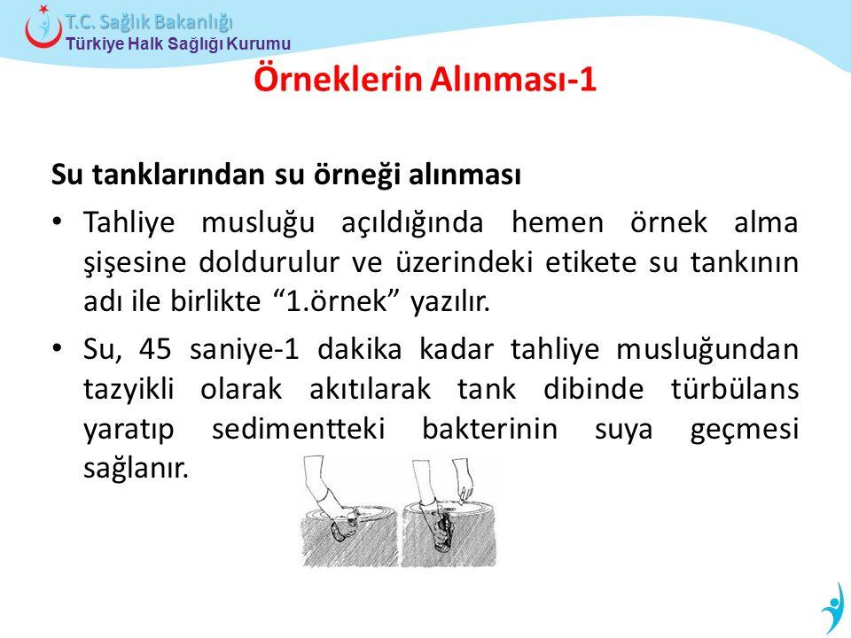 Türkiye Halk Sağlığı Kurumu T.C. Sağlık Bakanlığı Örneklerin Alınması-1 Su tanklarından su örneği alınması Tahliye musluğu açıldığında hemen örnek alm