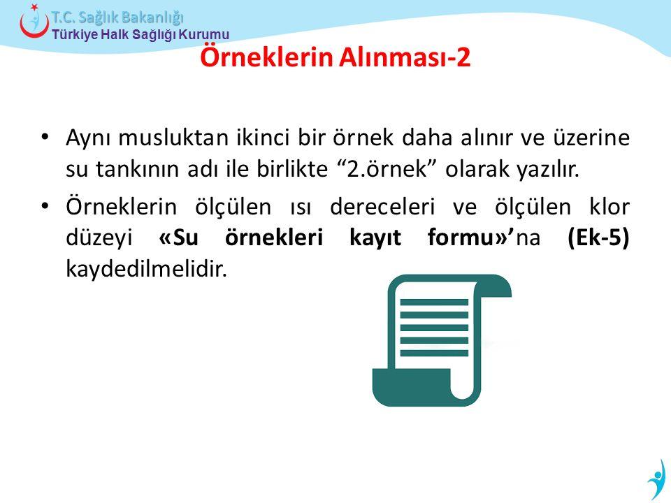 Türkiye Halk Sağlığı Kurumu T.C. Sağlık Bakanlığı Örneklerin Alınması-2 Aynı musluktan ikinci bir örnek daha alınır ve üzerine su tankının adı ile bir