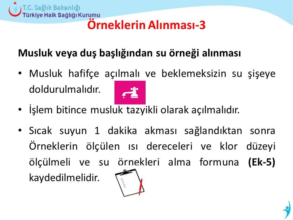 Türkiye Halk Sağlığı Kurumu T.C. Sağlık Bakanlığı Örneklerin Alınması-3 Musluk veya duş başlığından su örneği alınması Musluk hafifçe açılmalı ve bekl