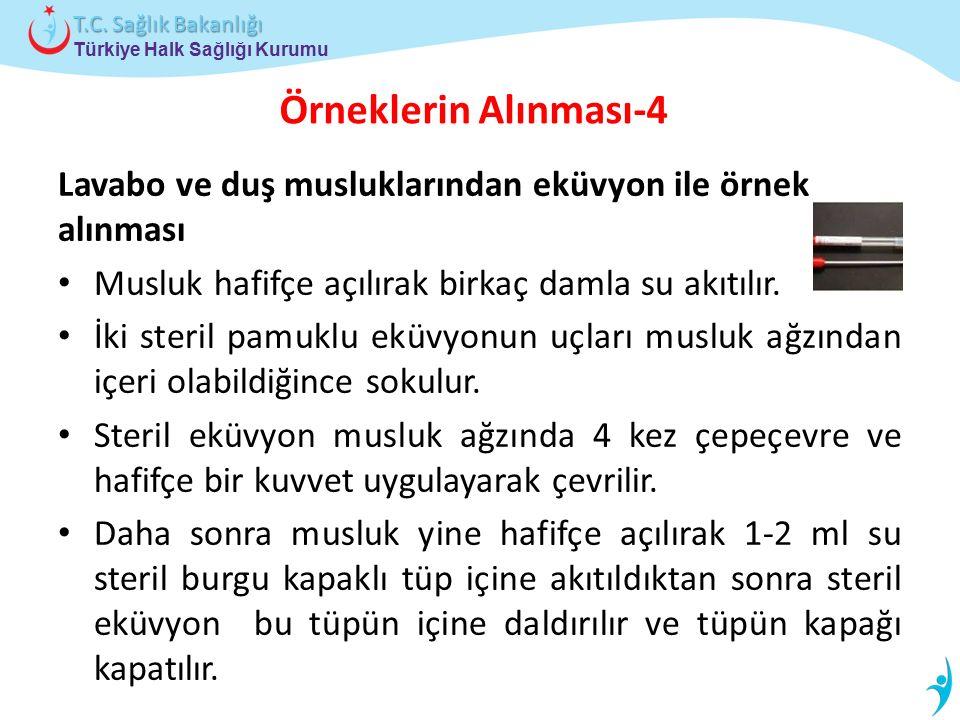 Türkiye Halk Sağlığı Kurumu T.C. Sağlık Bakanlığı Örneklerin Alınması-4 Lavabo ve duş musluklarından eküvyon ile örnek alınması Musluk hafifçe açılıra