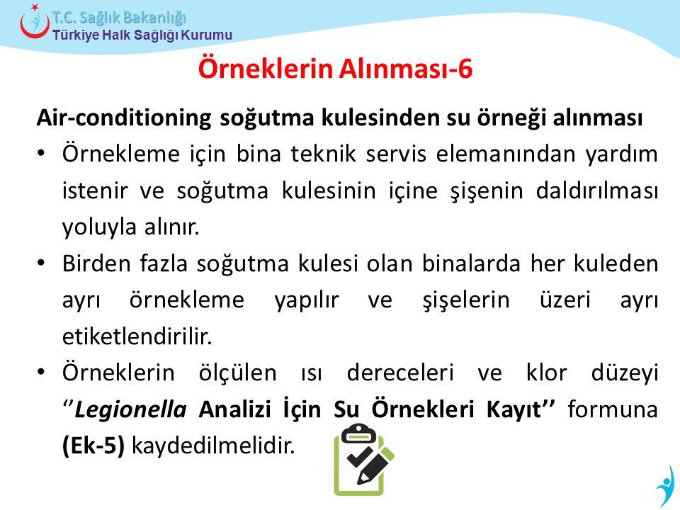 Türkiye Halk Sağlığı Kurumu T.C. Sağlık Bakanlığı Örneklerin Alınması-6 Air-conditioning soğutma kulesinden su örneği alınması Örnekleme için bina tek