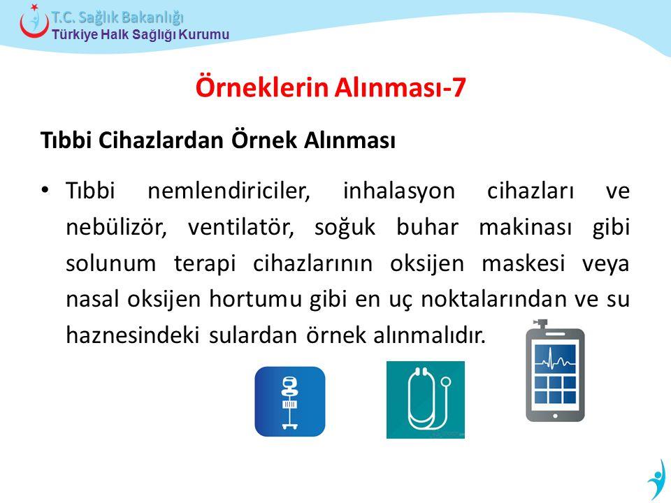 Türkiye Halk Sağlığı Kurumu T.C. Sağlık Bakanlığı Örneklerin Alınması-7 Tıbbi Cihazlardan Örnek Alınması Tıbbi nemlendiriciler, inhalasyon cihazları v
