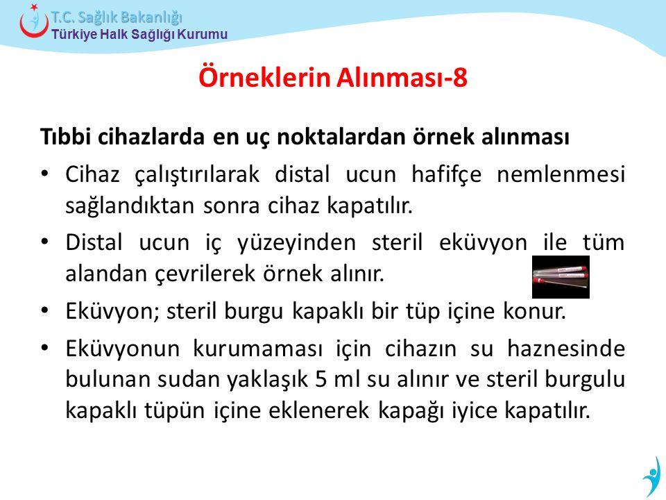Türkiye Halk Sağlığı Kurumu T.C. Sağlık Bakanlığı Örneklerin Alınması-8 Tıbbi cihazlarda en uç noktalardan örnek alınması Cihaz çalıştırılarak distal