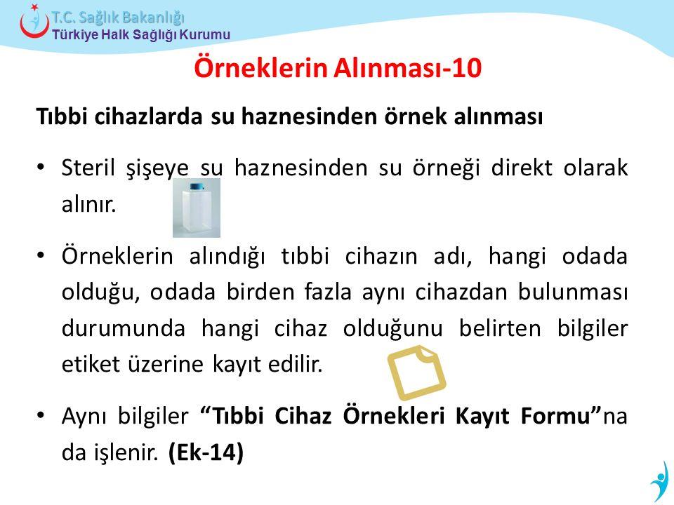 Türkiye Halk Sağlığı Kurumu T.C. Sağlık Bakanlığı Örneklerin Alınması-10 Tıbbi cihazlarda su haznesinden örnek alınması Steril şişeye su haznesinden s