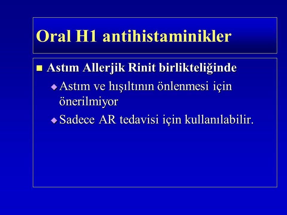 Astım Allerjik Rinit birlikteliğinde Astım Allerjik Rinit birlikteliğinde  Astım ve hışıltının önlenmesi için önerilmiyor  Sadece AR tedavisi için k