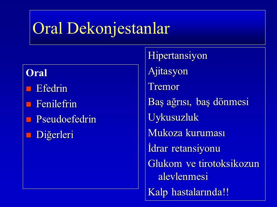 Oral Efedrin Efedrin Fenilefrin Fenilefrin Pseudoefedrin Pseudoefedrin Diğerleri Diğerleri HipertansiyonAjitasyonTremor Baş ağrısı, baş dönmesi Uykusu