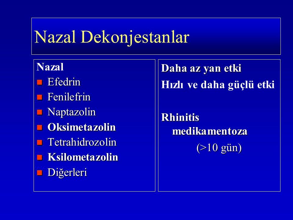 Nazal Efedrin Efedrin Fenilefrin Fenilefrin Naptazolin Naptazolin Oksimetazolin Oksimetazolin Tetrahidrozolin Tetrahidrozolin Ksilometazolin Ksilometa