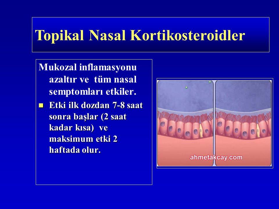 Topikal Nasal Kortikosteroidler Mukozal inflamasyonu azaltır ve tüm nasal semptomları etkiler. Etki ilk dozdan 7-8 saat sonra başlar (2 saat kadar kıs