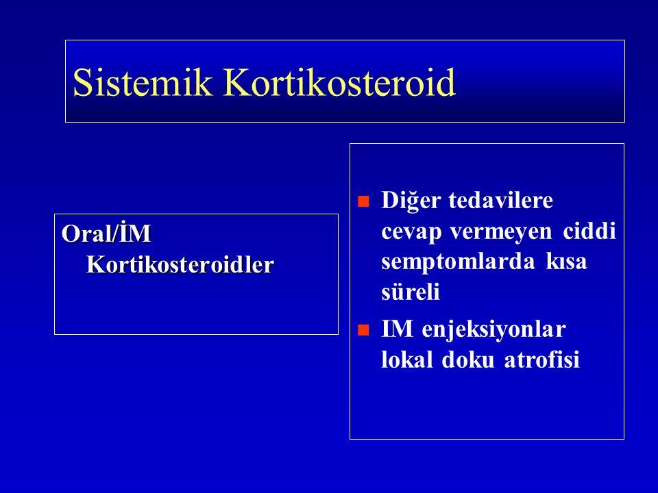 Oral/İM Kortikosteroidler Diğer tedavilere cevap vermeyen ciddi semptomlarda kısa süreli IM enjeksiyonlar lokal doku atrofisi Sistemik Kortikosteroid