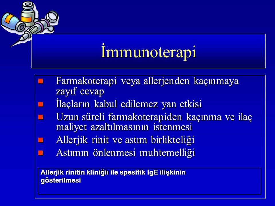 Farmakoterapi veya allerjenden kaçınmaya zayıf cevap Farmakoterapi veya allerjenden kaçınmaya zayıf cevap İlaçların kabul edilemez yan etkisi İlaçları