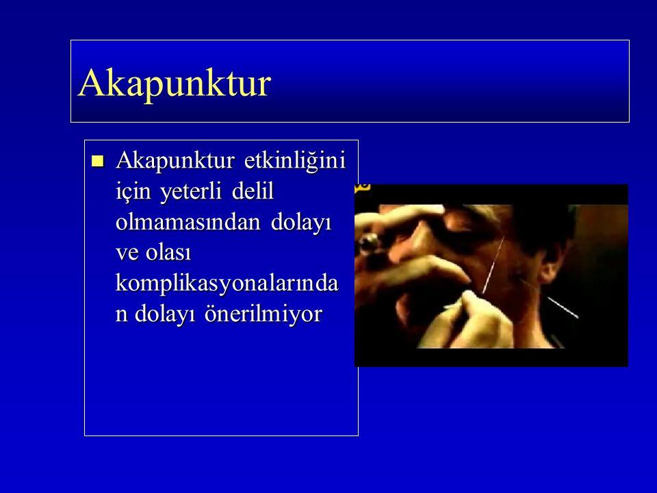 Akapunktur etkinliğini için yeterli delil olmamasından dolayı ve olası komplikasyonalarında n dolayı önerilmiyor Akapunktur etkinliğini için yeterli d