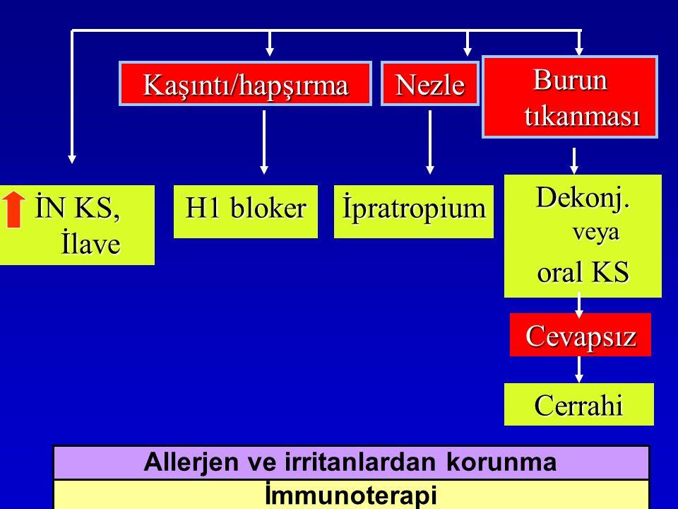 İN KS, İlave H1 bloker İpratropium Dekonj. veya oral KS Kaşıntı/hapşırmaNezle Burun tıkanması Cevapsız Cerrahi İmmunoterapi Allerjen ve irritanlardan