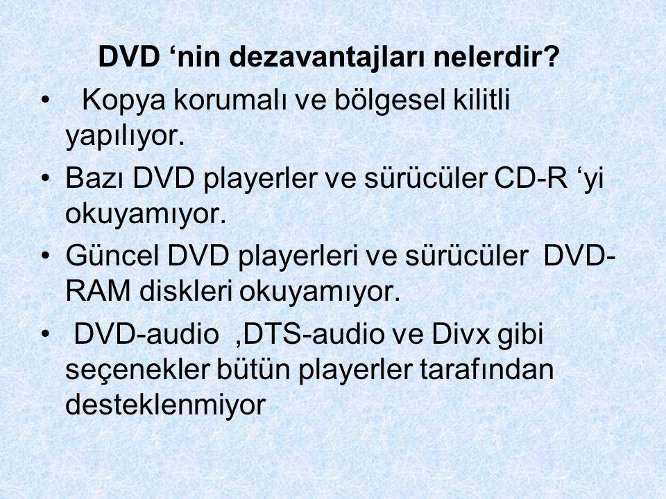 DVD 'nin dezavantajları nelerdir.Kopya korumalı ve bölgesel kilitli yapılıyor.