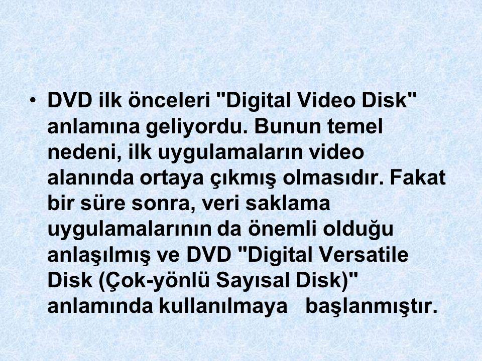 DVD ilk önceleri Digital Video Disk anlamına geliyordu.