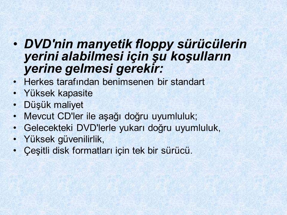 DVD nin manyetik floppy sürücülerin yerini alabilmesi için şu koşulların yerine gelmesi gerekir: Herkes tarafından benimsenen bir standart Yüksek kapasite Düşük maliyet Mevcut CD ler ile aşağı doğru uyumluluk; Gelecekteki DVD lerle yukarı doğru uyumluluk, Yüksek güvenilirlik, Çeşitli disk formatları için tek bir sürücü.