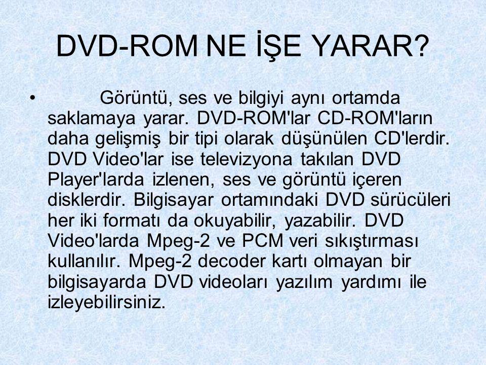 DVD-ROM NE İŞE YARAR.Görüntü, ses ve bilgiyi aynı ortamda saklamaya yarar.