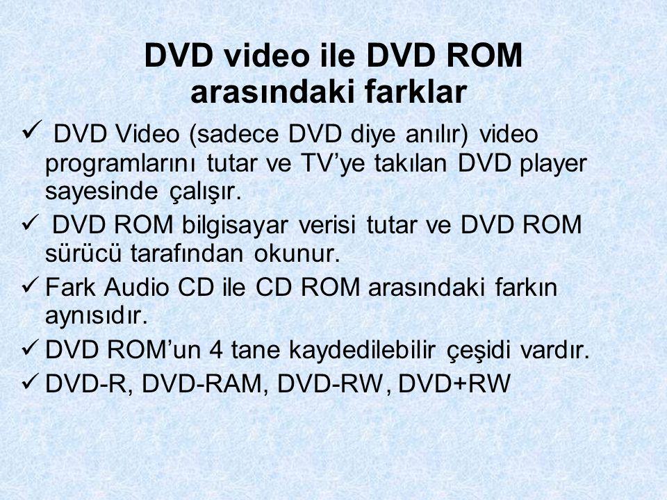 DVD video ile DVD ROM arasındaki farklar DVD Video (sadece DVD diye anılır) video programlarını tutar ve TV'ye takılan DVD player sayesinde çalışır.