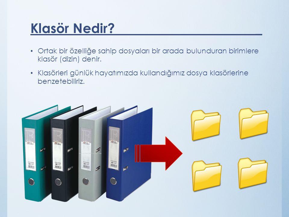 Ortak bir özelliğe sahip dosyaları bir arada bulunduran birimlere klasör (dizin) denir. Klasörleri günlük hayatımızda kullandığımız dosya klasörlerine