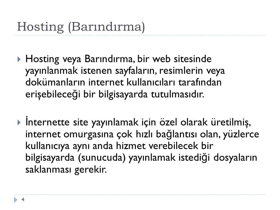 Hosting (Barındırma)  Hosting veya Barındırma, bir web sitesinde yayınlanmak istenen sayfaların, resimlerin veya dokümanların internet kullanıcıları tarafından erişebilece ğ i bir bilgisayarda tutulmasıdır.