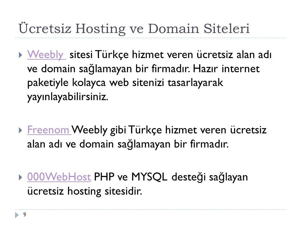 Ücretsiz Hosting ve Domain Siteleri  Weebly sitesi Türkçe hizmet veren ücretsiz alan adı ve domain sa ğ lamayan bir firmadır.